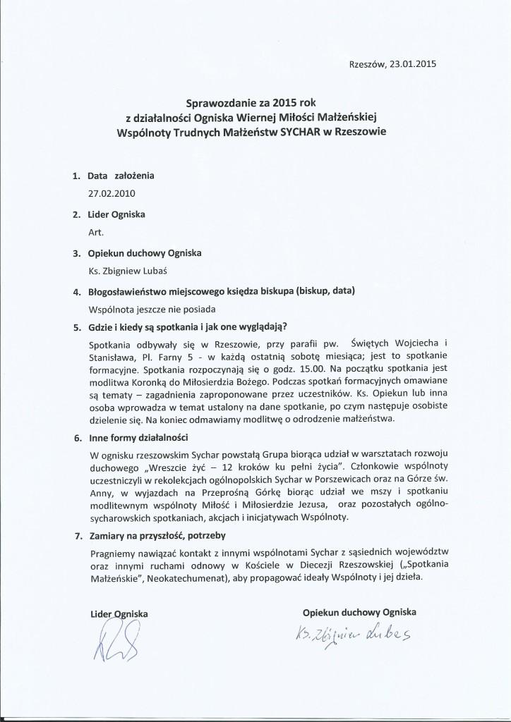Sprawozdanie 2015 Rzeszów