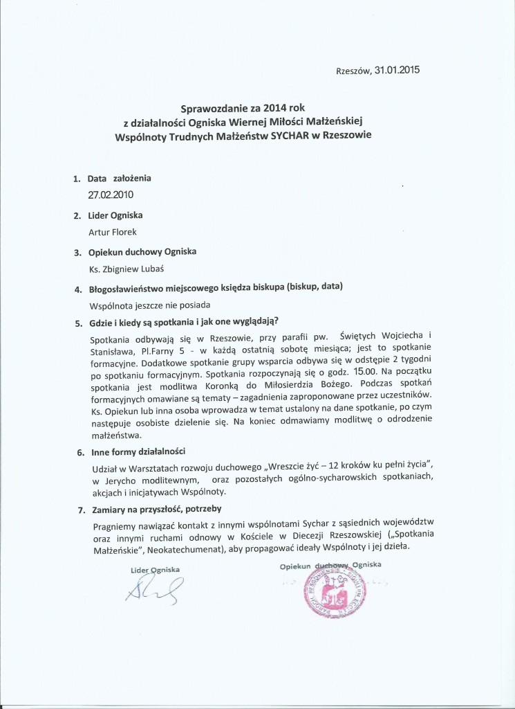 Sprawozdanie Ogniska- Rzeszow 2014