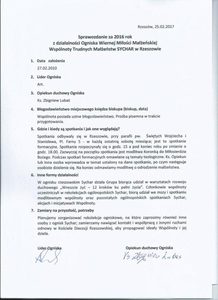 Sprawozdanie Ogniska-Rzeszow 2016
